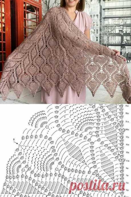 Вяжем платок крючком - схема вязания. 46 идей накидок, платков и палантинов крючком и спицами с описанием вязания.