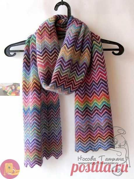 Простой и жизнерадостный узор для шарфа или пледа — Сделай сам, идеи для творчества - DIY Ideas