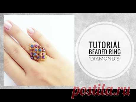 #МК - Кольцо Ромб из бисера и биконусов | #Tutorial - Ring Rhombus bead and bicone