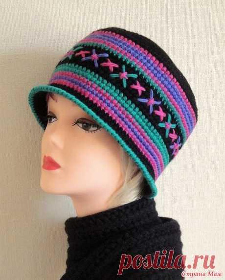 Шапка-шляпка от Ольги Щепетильниковой. Крючком. / Страна Мам