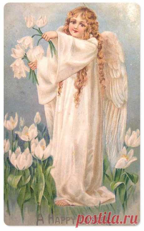 Easter very gentle vintage cards with angels))))