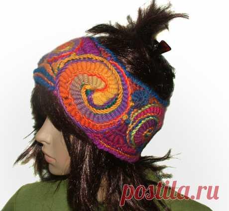 Womens Rainbow Headband Ear warmers Cowl Freeform от rensfibreart