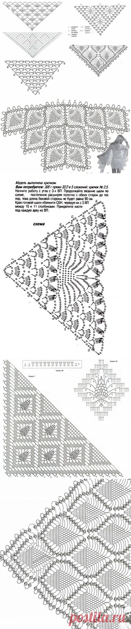 Ажурные узоры для шали крючком - идеи и схемы для вязания | Anna Gri Crochet | Яндекс Дзен