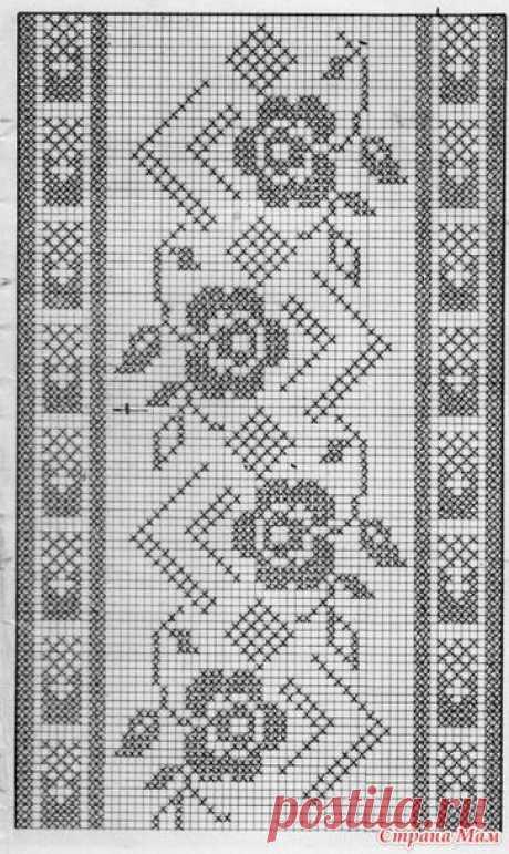 Филейное вязание. Много узоров.
