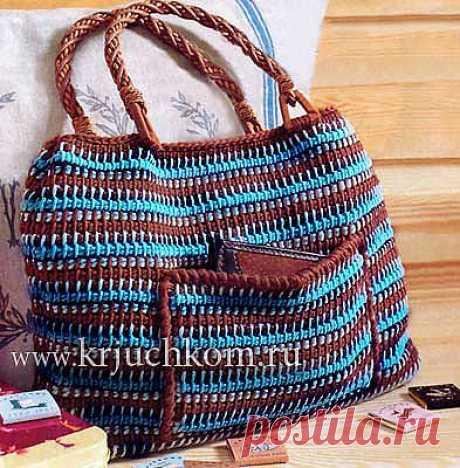 Вязание сумки тунисским крючком