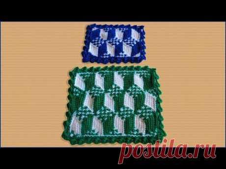 Вязание 3D коврика крючком из пряжи. 3D узор. Узор крючком в технике 3D. Crochet 3D pattern.