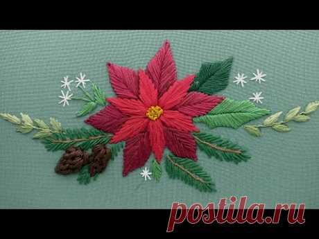 Вышивка для начинающих | Рождественский букет для скатерти