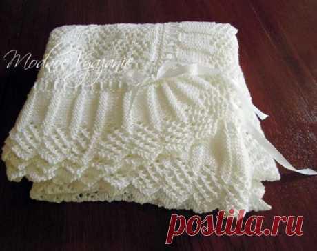 Красивый плед для новорожденного спицами - Модное вязание