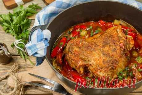Бедро индейки тушеное с овощами – пошаговый рецепт с фото.