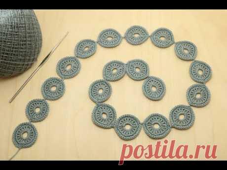 Урок вязания ЛЕНТОЧНОГО КРУЖЕВА колечки - безотрывное вязание Crochet ribbon lace