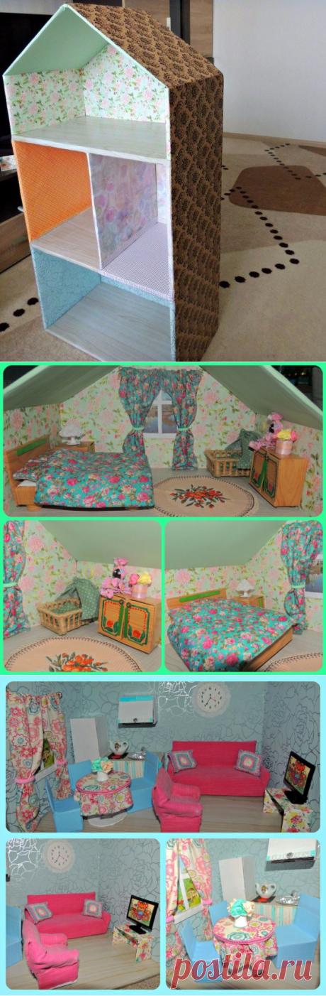 Сделала кукольный домик для любимой дочки! 3 этажа: кухня-гостиная, детская, спальня родителей, санузел.