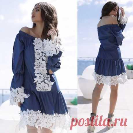 Джинсовое платье с ажурным белым кружевом