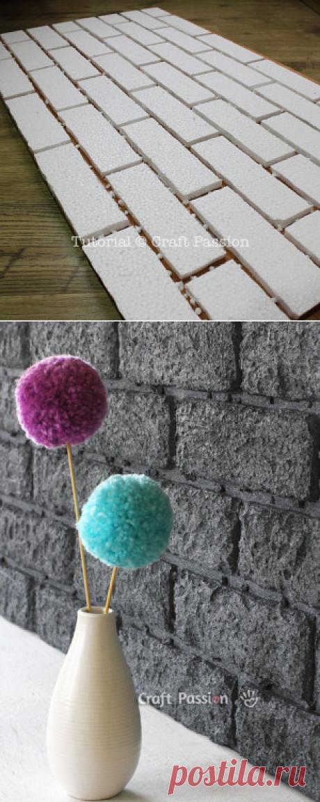 Как сделать настенный декор, имитирующий кирпичную кладку — Сделай сам, идеи для творчества - DIY Ideas