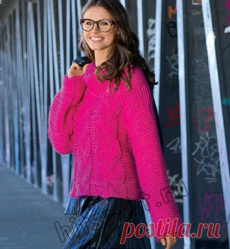 Вязание пуловера крючком с декором из кос