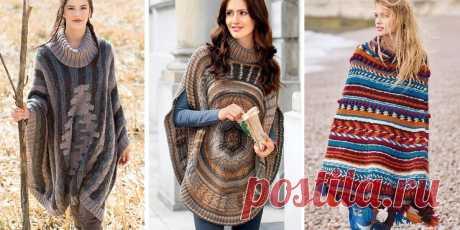 Вязаное пончо: одежда на межсезонье - коллекция идей на Verena.ru