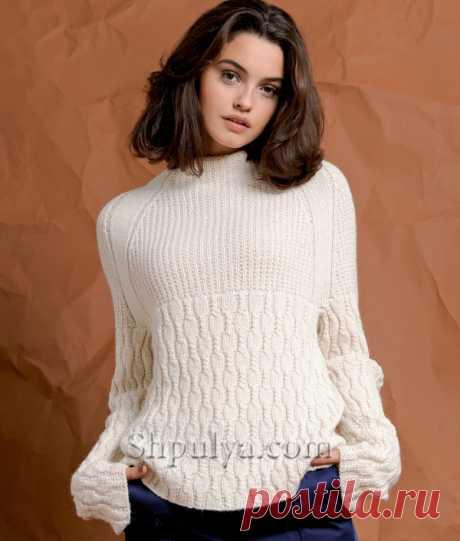Пуловер реглан с удлиненными рукавами - SHPULYA.com