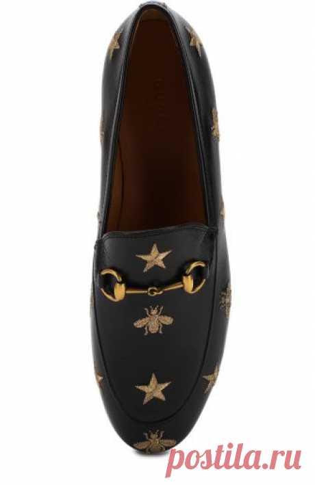 Женские черные кожаные лоферы jordaan с вышивкой и пряжкой-трензелем GUCCI — купить за 67950 руб. в интернет-магазине ЦУМ, арт. 505281/D3V00