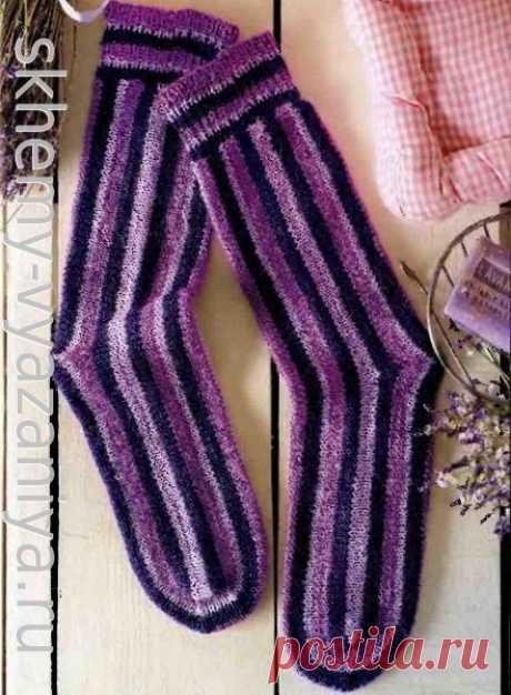 Схема вязания носки поперечной вязки спицами