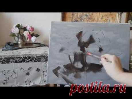 Пионы. Итальянский метод работы масляными красками