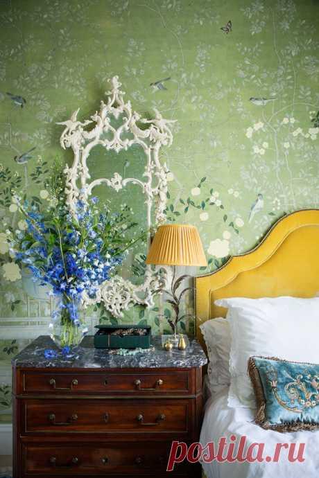 Оттенки зеленого в интерьере спальни | Роскошь и уют