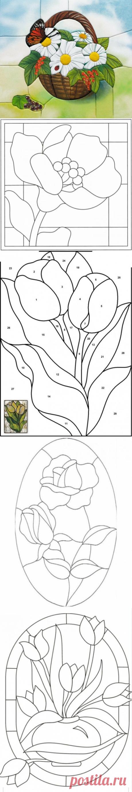 Шикарная подборка схем для панно в технике кинусайга: цветы
