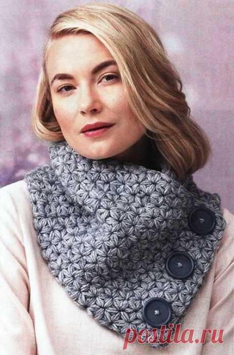 Широкий шарф с объемными звездочками из категории Интересные идеи – Вязаные идеи, идеи для вязания