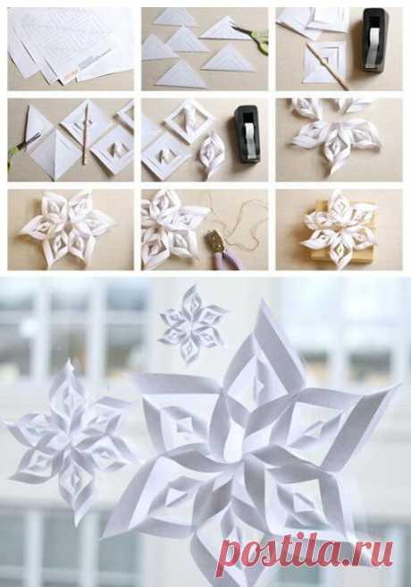 Объемные снежинки из бумаги своими руками ~ Свое рукоделие