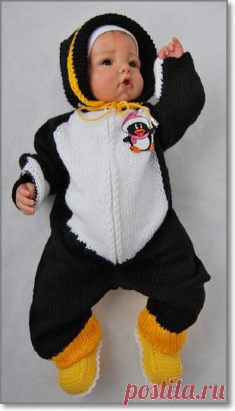 Вязаный комбинезон для новорожденных. Вязаный комбинезон спицами «Пингвин». Описание.
