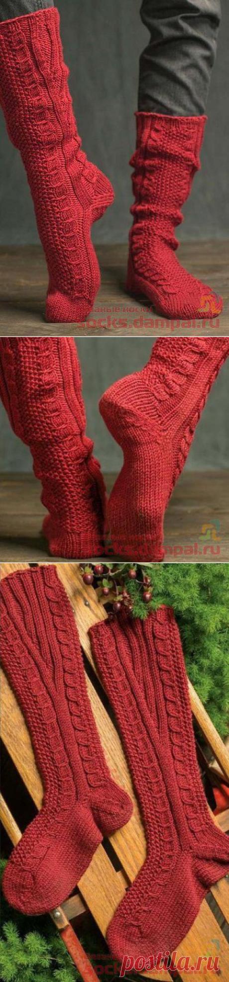 Высокие носки «Cable & Seed Knee» | ВЯЗАНЫЕ НОСКИ