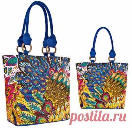 """Выкройка сумки от Анастасии Корфиати Выкройка сумки с принтом. Эта летняя сумка с принтом """"павлин"""" станет хитом вашей коллекции. Сумка имеет актуальный рисунок и очень удобную форму, вы можете"""