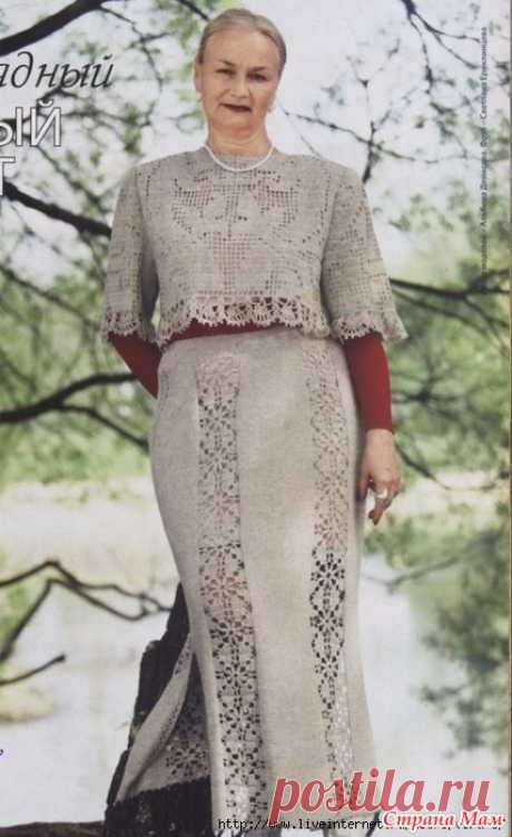 Suit: a top and a skirt (spokes + a hook) - KNITTED MODA+ FOR NOT MODEL LADIES - the Country of Mothers