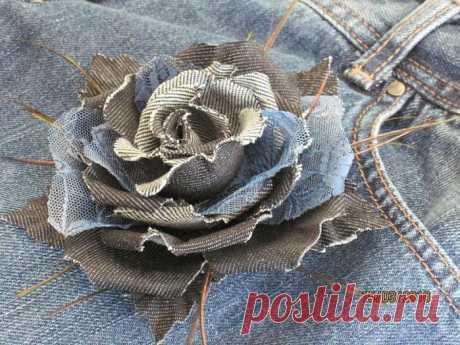 Цветы из джинсы.
