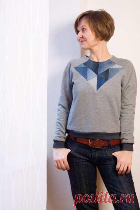 джинсовый лоскутный свитер