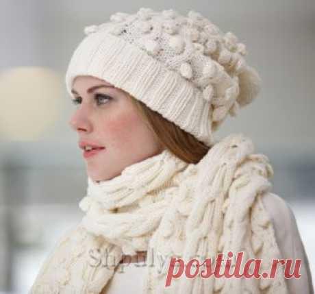 Шапка и шарф узором из кос и шишечек - SHPULYA.com