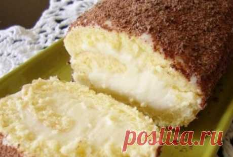 """UNUSUALLY TASTY DARK-COMPLEXIONED GIRL CAKE WITH THE SURPRISING STUFFING\u000a\u000aDark-complexioned girl cake is a cake of my childhood. The gentle biscuit, a creamy souffle and chocolate topping are perfectly combined with taste of \""""Pigeon's milk\"""" in such most tasty cake in the form of roll.\u000a\u000aEgg — 3 pieces\u000aSugar — 100 g\u000aWheat flour \/ Flour — 75 g\u000aStarch — 25 g\u000aBaking powder — 1 h l.\u000aWater (very cold) — 3 tablespoons.\u000aCream (10-20%) — 200 ml\u000aThe milk condensed (2\/3 stak.) — 250 g\u000aMilk — 0,5 stak.\u000aReaped..."""