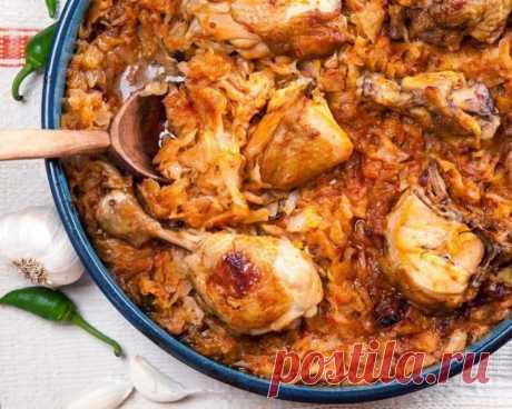 Курица, тушеная с квашенной капустой — Кулинарная книга - рецепты с фото