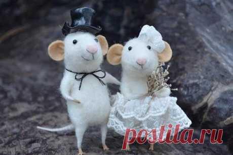 Милые мышата из шерсти. Одноклассники