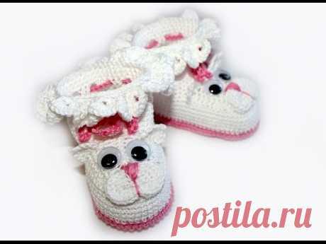 """La labor de punto por el gancho. MK los Patucos """"Котята"""" (la parte 1) Crochet. Crocheted sandals. - YouTube"""