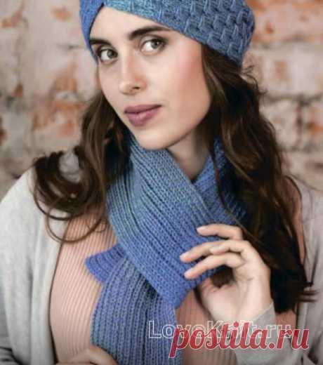 Комплект из шапки-чалмы и шарф схема спицами » Люблю Вязать