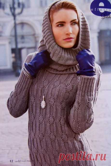 Knitting by spokes for women the Tunic with a collar hood