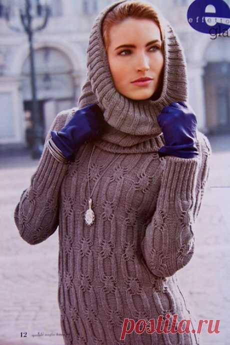 Вязание спицами для женщин Туника с воротником-капюшон