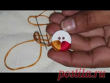 Hand Embroidery:Amazing Button Flower Trick,Make Beautiful Flower With Multi Hand Stitch,Sewing Hack