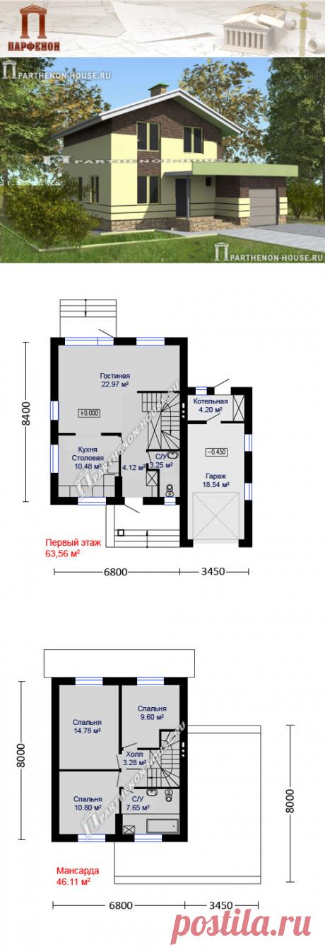 Двухэтажный дом с пристроенным спереди гаражом. Есть несколько вариантов этого дома.   Гараж: да. Котельная: да. Всего комнат: 3 + 1. Санузлы: 2. Кол-во жильцов: 4.   Площадь общая: 128,70 кв.м. Площадь застройки: 110,06 кв.м. Площадь жилая: 58,15 кв.м. Габаритные размеры дома: 8,400 х 10,250 м. (с гаражом) Ми