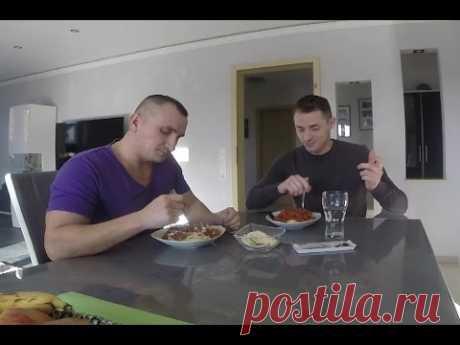 Обед бомжа в ГЕРМАНИИ на 5€. Как едят бедные русские.(2016) №1