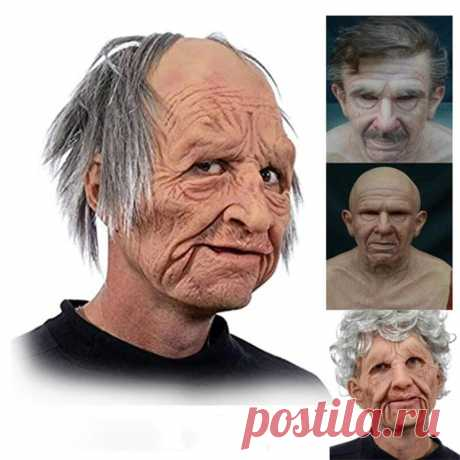 Halloween party old man mask moving mouth headgear performance prop for party Sale - Banggood.com