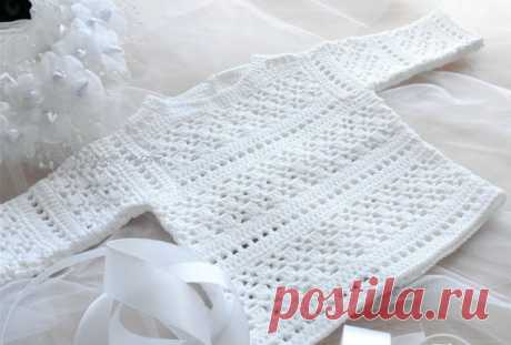 Белоснежная детская кофточка из Филдар - Crochet.Modnoe Vyazanie ru.rom