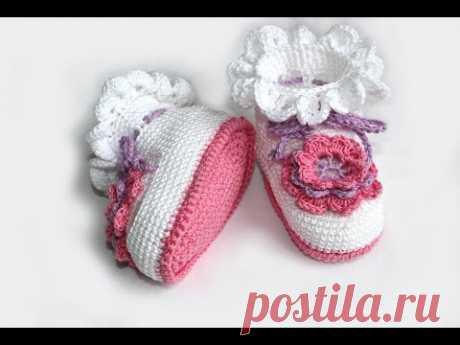 La labor de punto por el gancho. MK los Patucos por el gancho (la parte 1) Crochet. Crocheted sandals. - YouTube