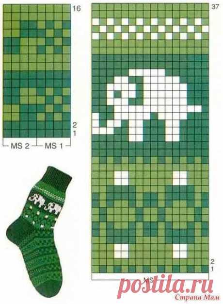 Схема жаккардового узора для детских носочков