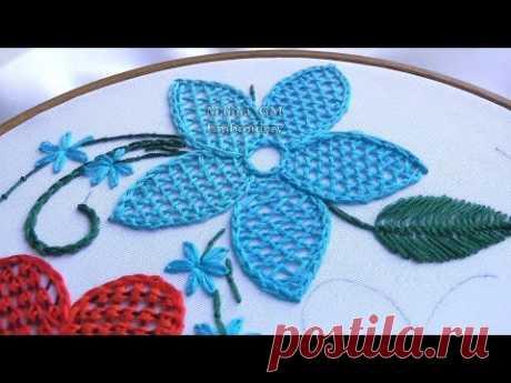 Hand Embroidery : Net Stitch | Вышивка: Плетение иглой