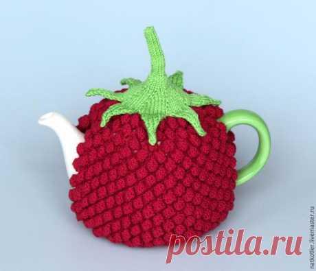 Вяжем грелку для чайника «Малиновый вкус»